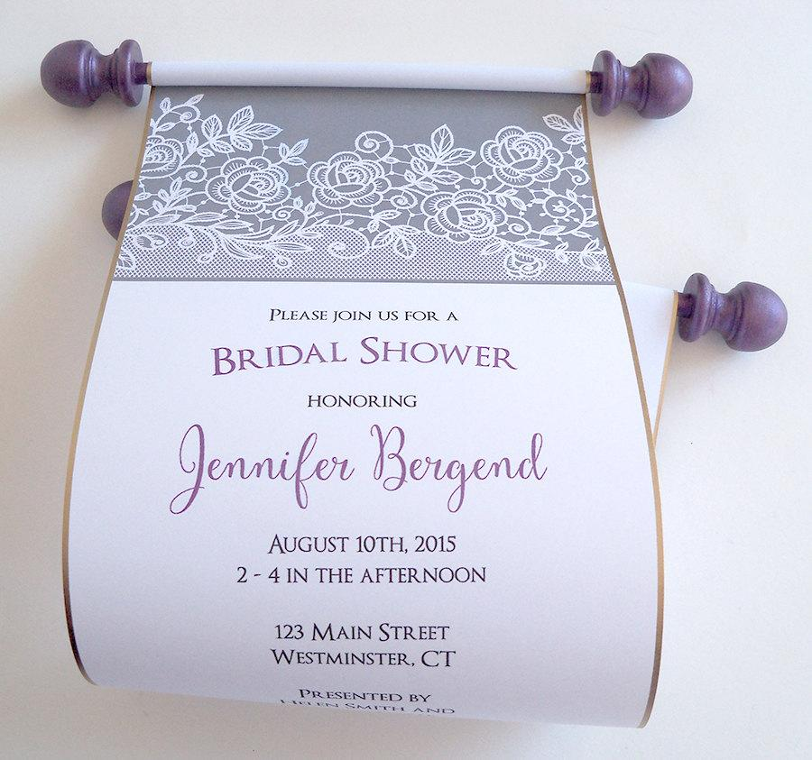 Wedding - Bridal shower invitation, lace invitation scroll, grey and eggplant floral lace, set of 10
