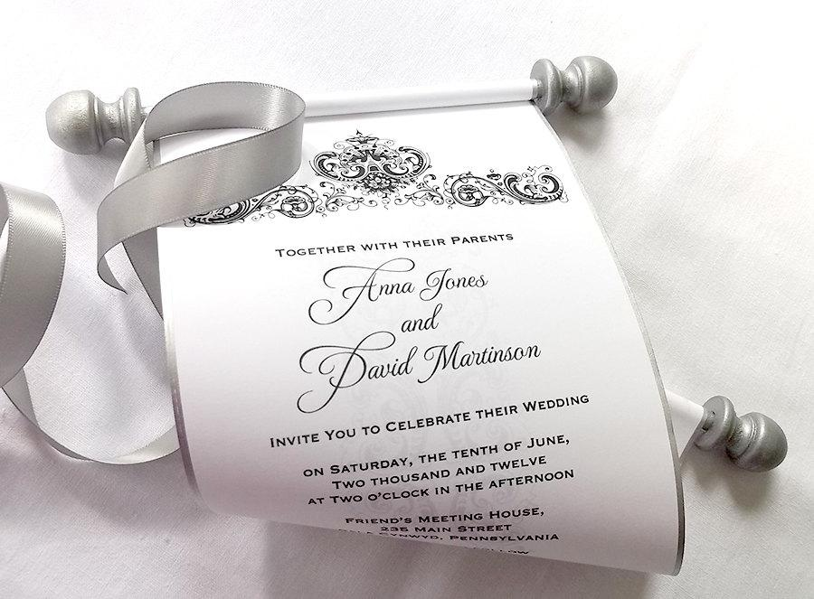 Elegant winter wedding invitation scroll black and silver damask elegant winter wedding invitation scroll black and silver damask bridal shower invitation medieval castle scroll wedding invitations 25 filmwisefo Choice Image
