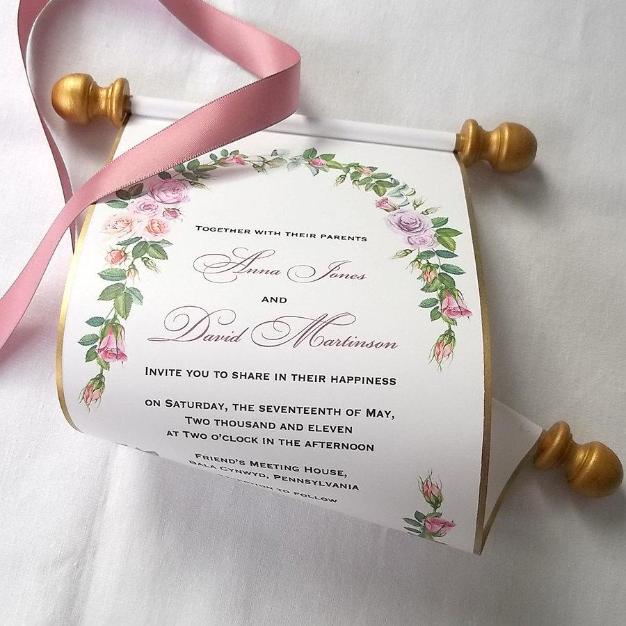 Boho Chic Wedding Invitations, Scroll Invitations, Watercolor Roses ...
