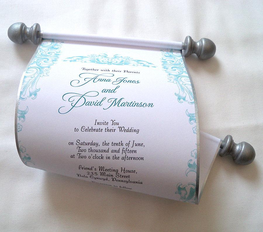 زفاف - Romantic rococo wedding invitation scroll in blue and silver, bridal shower invitation, set of 10