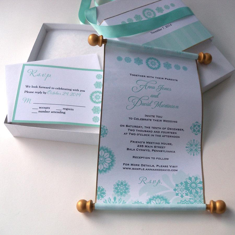 winter fairytale boxed wedding invitation scroll suite in aqua and