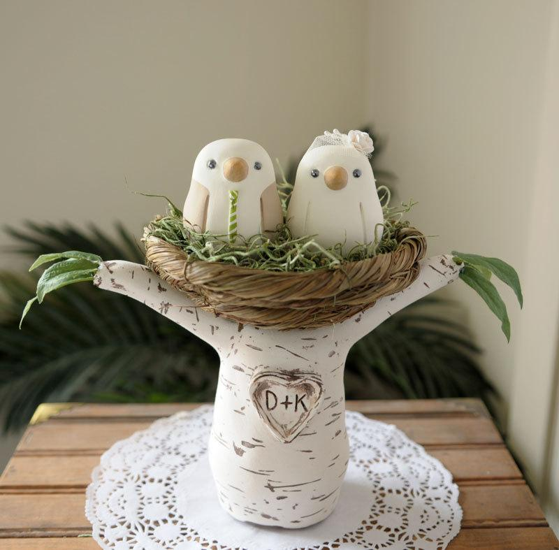 Wedding Cake Topper - Love Birds With Tree And Nest ...