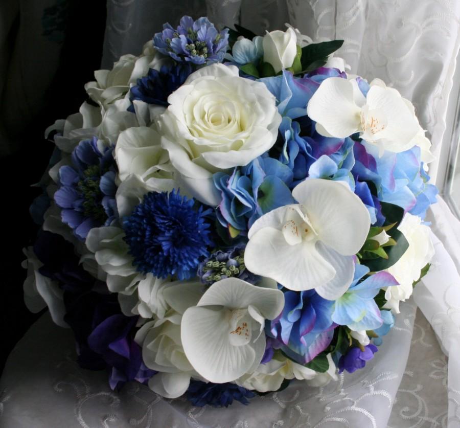 Hochzeit - Custom Gardenia Bouquet & Boutonniere Set with Orchids, Roses, Hydrangea and Accent Flowers - Premium Bridal Silks - Island Garden Wedding