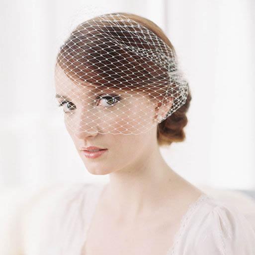 Hochzeit - Vintage Tulle Blusher Headband Birdcage Veil Wedding Accessory