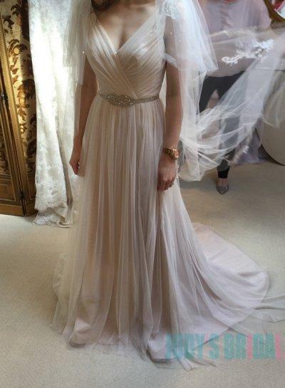 Wedding - JOL306 Simple strappy light nude v neck tulle wedding dresses