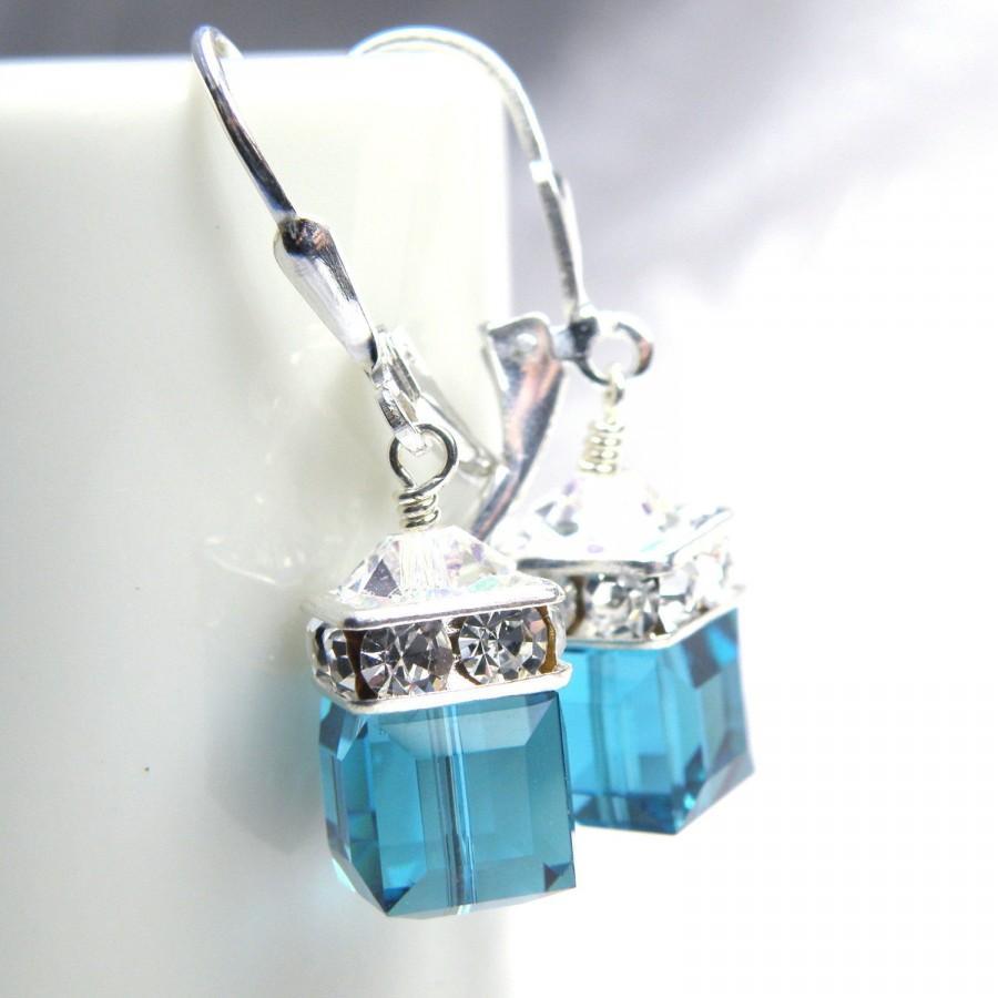 Mariage - Teal Crystal Earrings, Blue Topaz Swarovski Cube Drop, Sterling Silver, Bridesmaid Jewelry Gift, Wedding, December Birthstone Birthday
