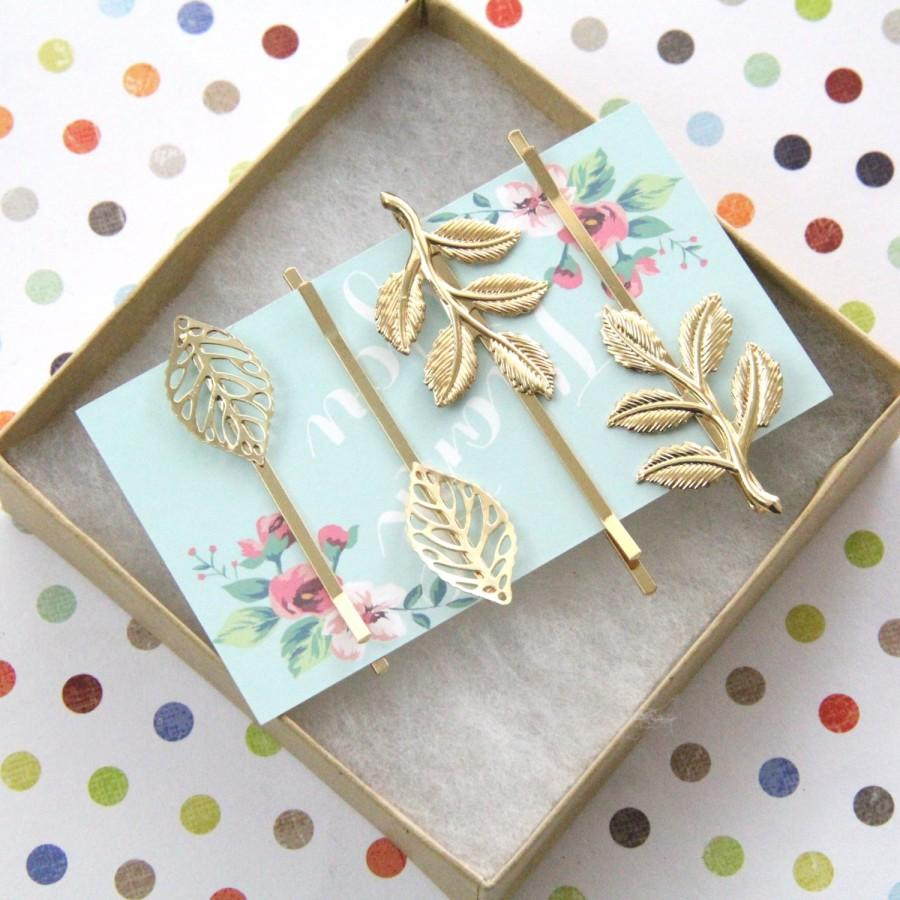 Свадьба - Gold Leaf Bobby Pin and Gold Branch Simple Bobby Pin, Set of 4 Gold Bobby Pin