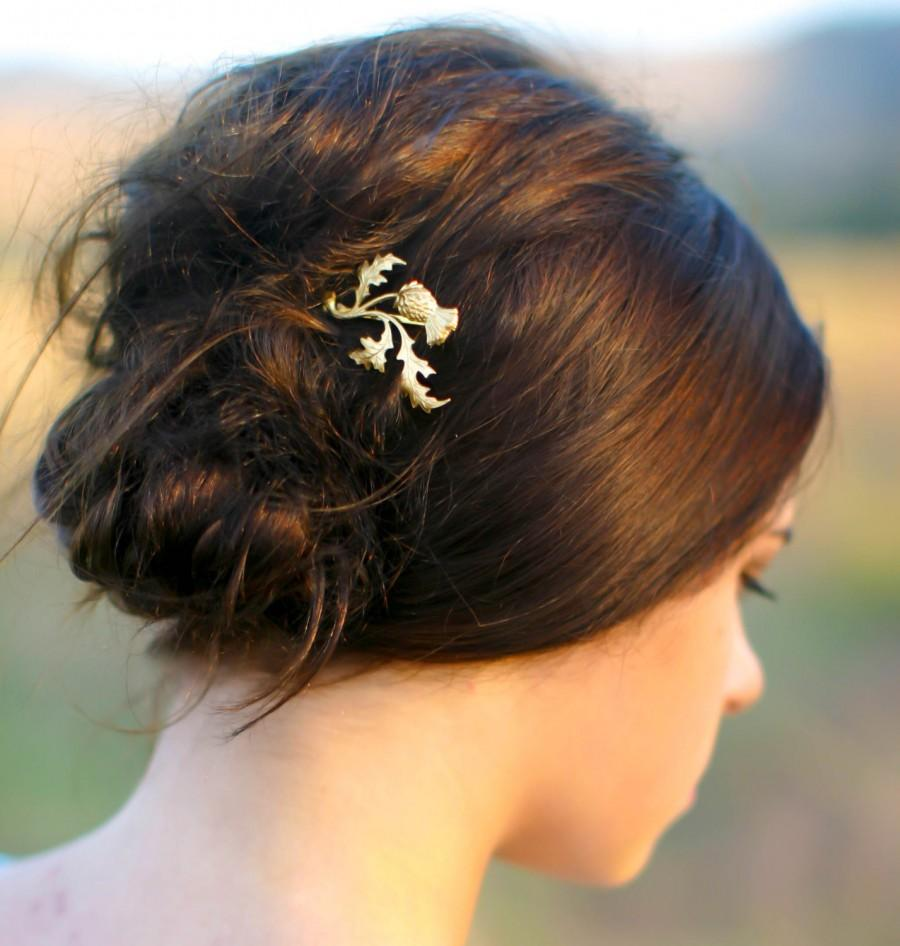 Свадьба - Gold Scottish Thistle Hair Pin  Branch, Leaf & Flower Scotland Leaf Bobby Pin