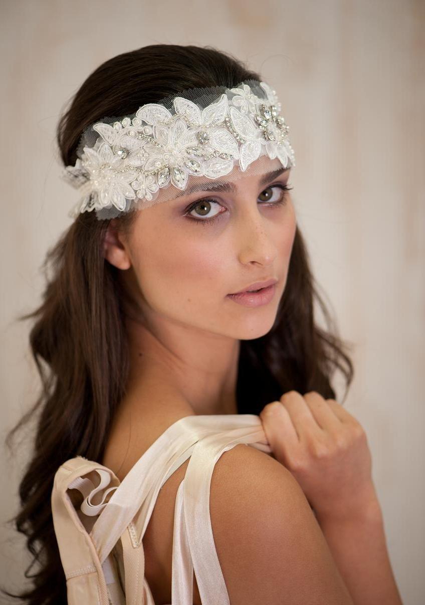 Ivory Bridal Hair Accessories Headband Tiara Wedding Vintage Lace And Rhinestone Band
