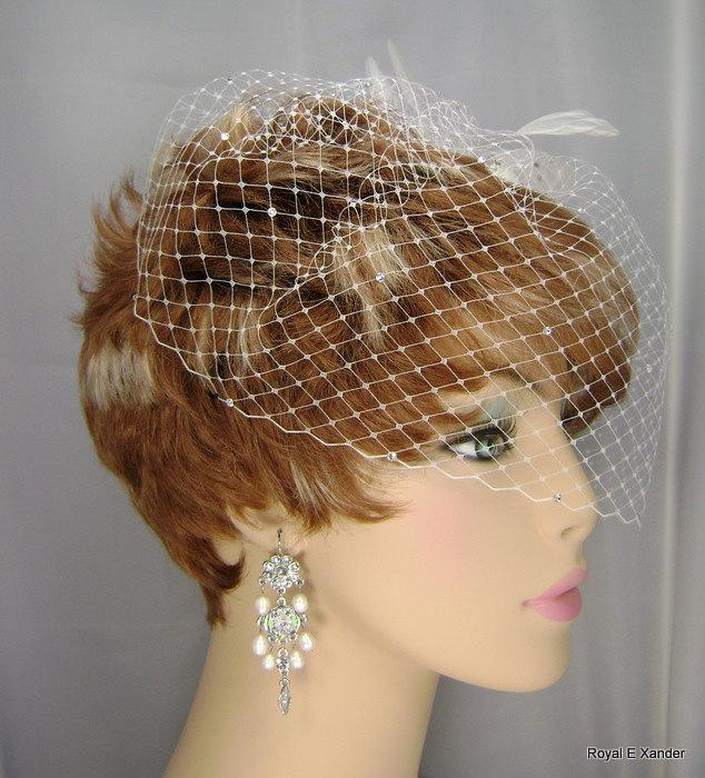 Свадьба - Wedding Birdcage Veil with Crystals, Small Bridal Veil, Russian Veiling, Bird Cage Veil