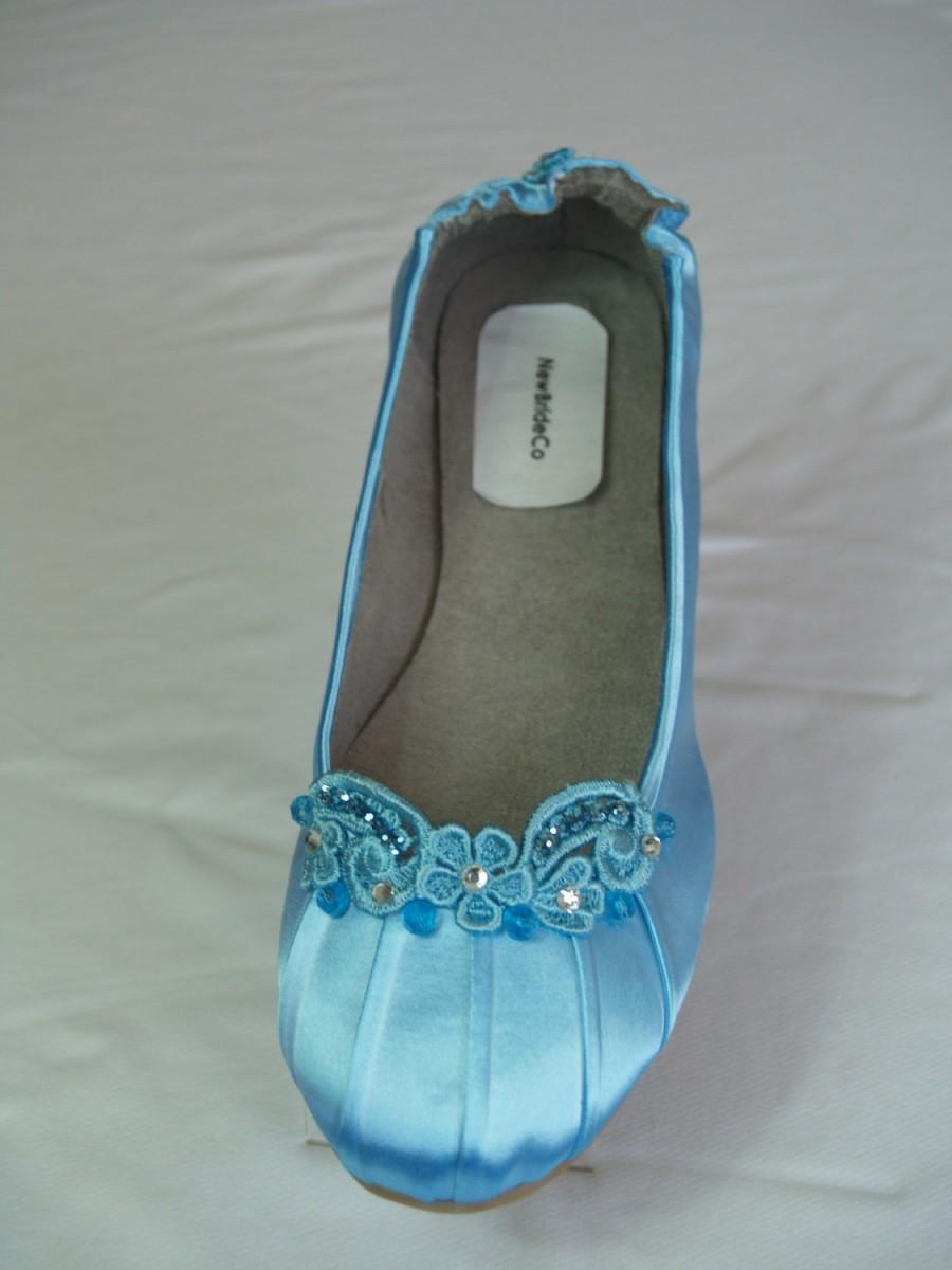 Flats Something Blue, Satin Blue Shoes Hand Enhanced, Blue Wedding Shoes