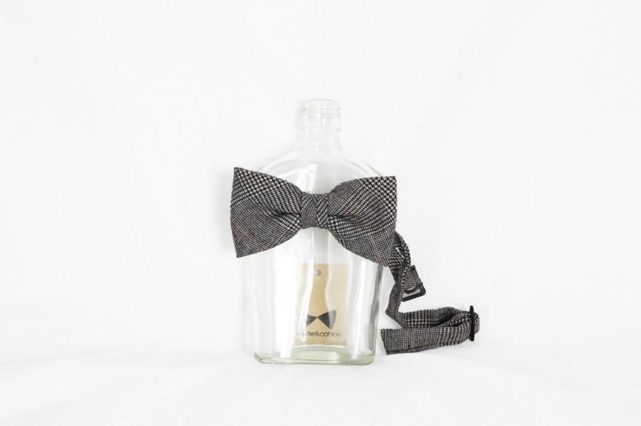 Свадьба - Jonathan - Black Plaid Wool Men's Pre-Tied Bow Tie or Self-Tied Bow Tie