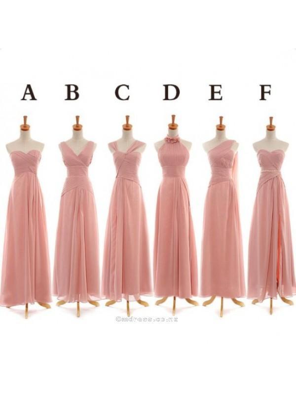 Düğün - A Line Mutiple Style Floor Length Long Chiffon Bridesmaid DressSKU: BM000186