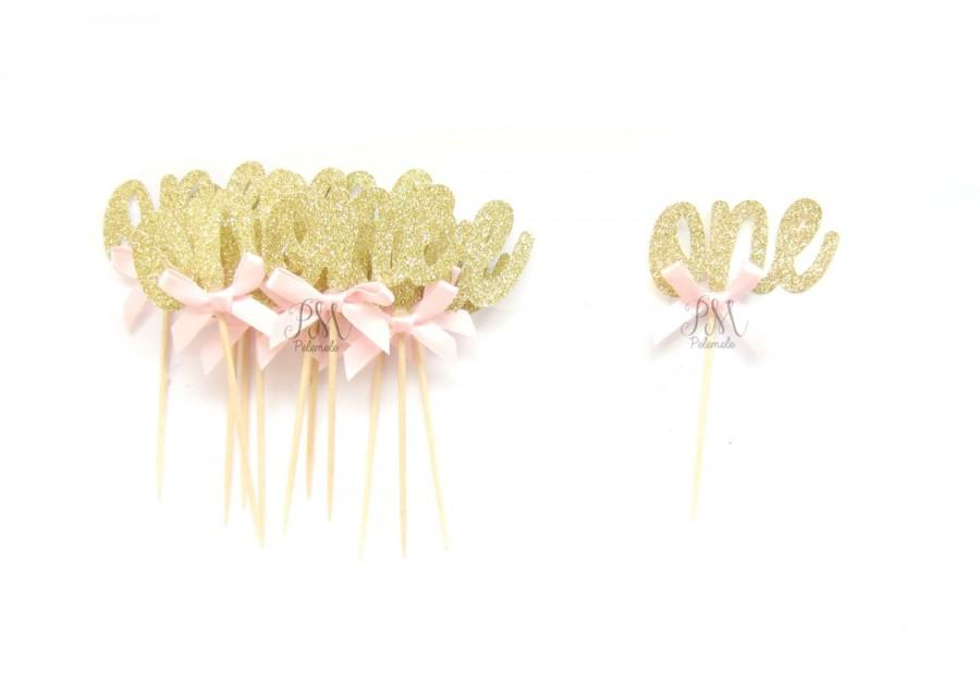 12 Gold Glitter One Cupcake Toppers 1st Birthday Birthday Cupcake