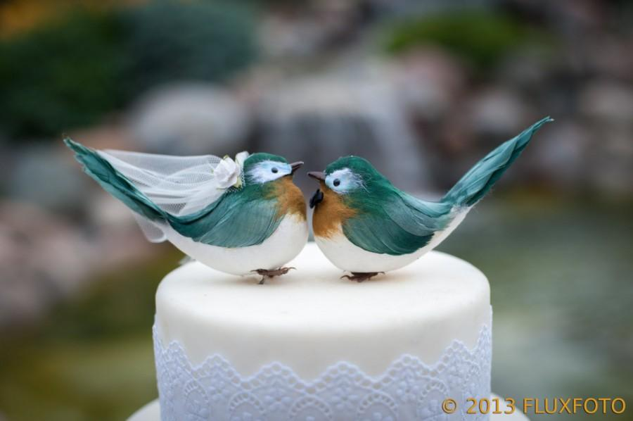 زفاف - Chipper Chickadee Cake Topper in Deep Green and Goldenrod: Bride & Groom Love Bird Cake Topper -- LoveNesting Wedding Cake Toppers