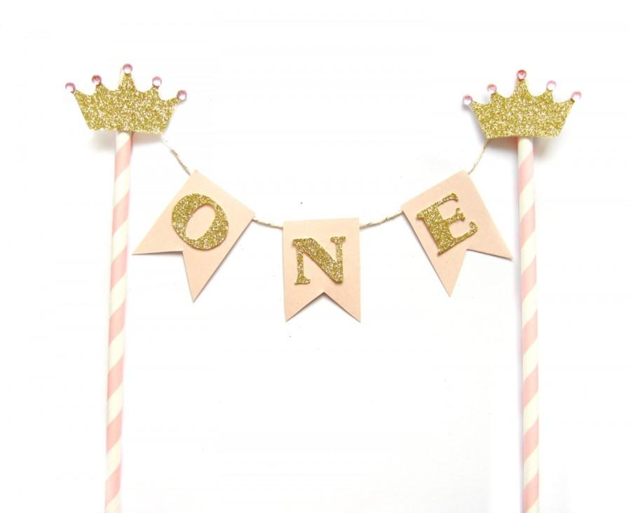 Pink Gold Princess Birthday Cake Topper