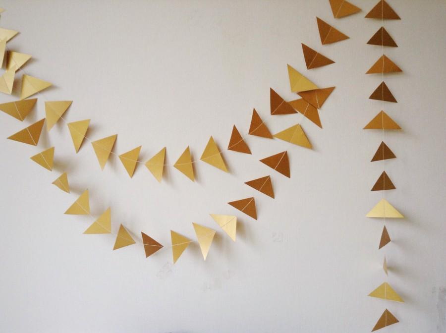 Hochzeit - Gold Geometric Wedding Garland - Party Decoration - Wedding Decor - Triangle - Christmas - Decoration - Choose Your Length