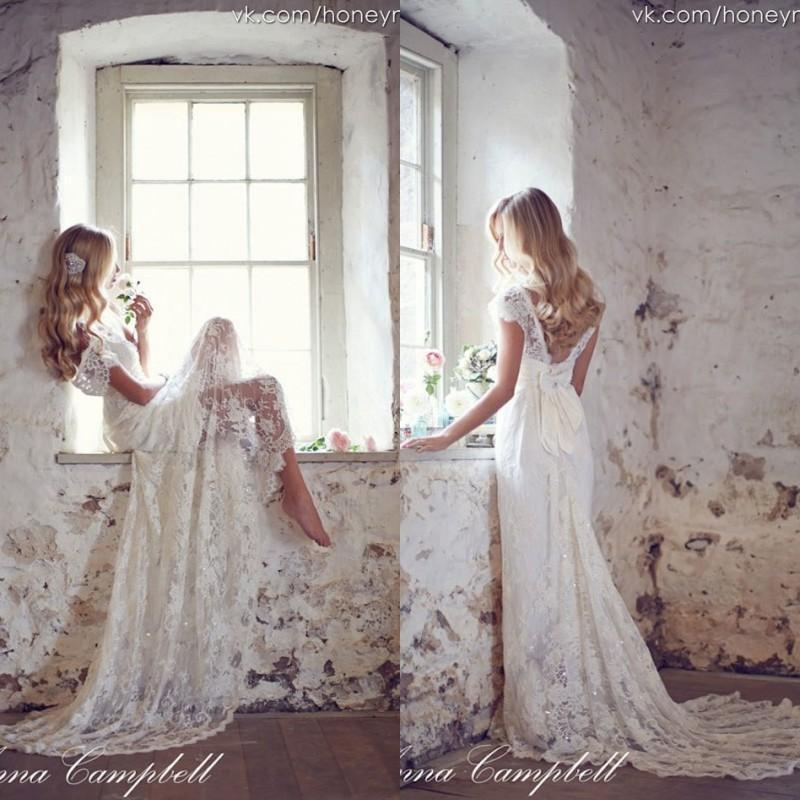 Anna Campbell 2015 Backless Lace Bohemian Boho Wedding Dresses V Neck Cap Sleeves Sweep Train