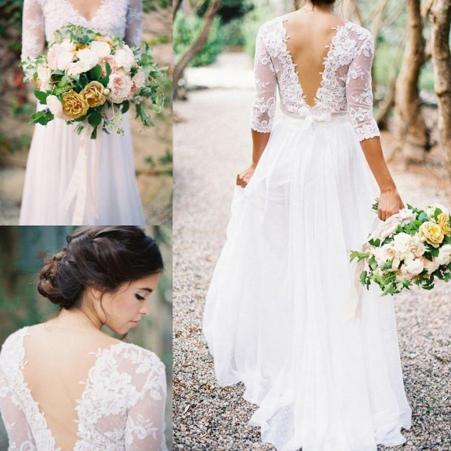 2016 lace chiffon bridal dresses boho lace dress v neck 3 for Long wedding dresses with sleeves