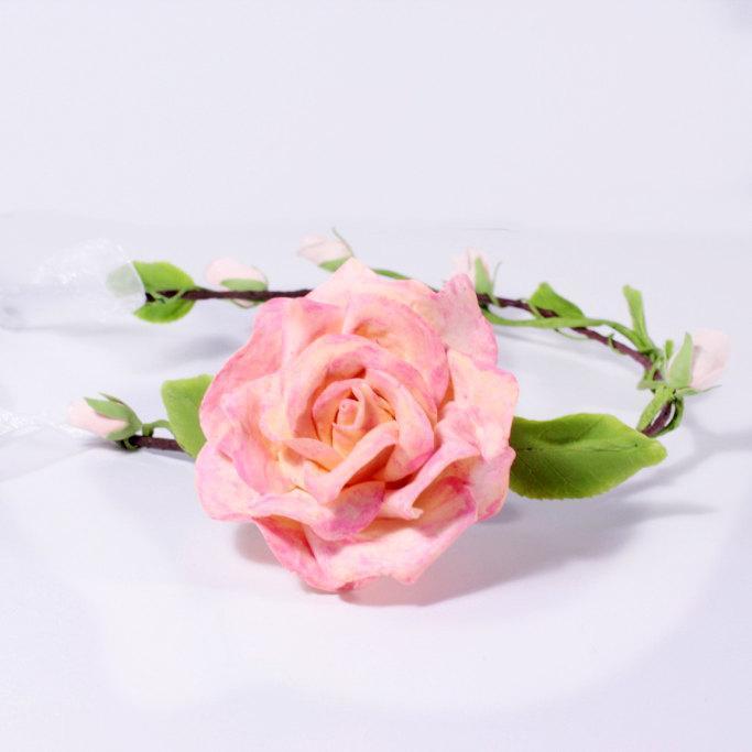 Mariage - Big Rose flower tiara Hair Jewelry Accessories Wedding Pink Rose Flower Girl crown Rustic Wedding Headpiece Rose queen Flower Wreath FJ16