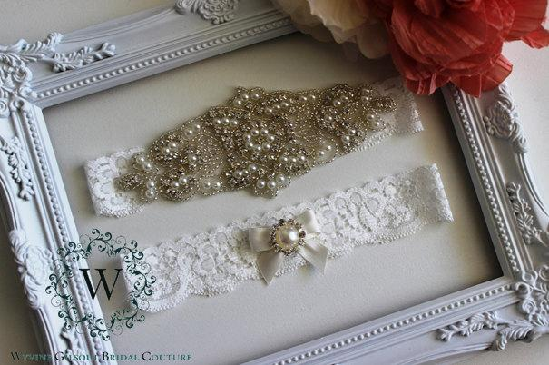 Wedding - ELISABETH - Wedding Lace Garter - Individual Or Set - Ivory/White/Peach Lace Garter -Rhinestone Wedding Garter - Trow Away Garter