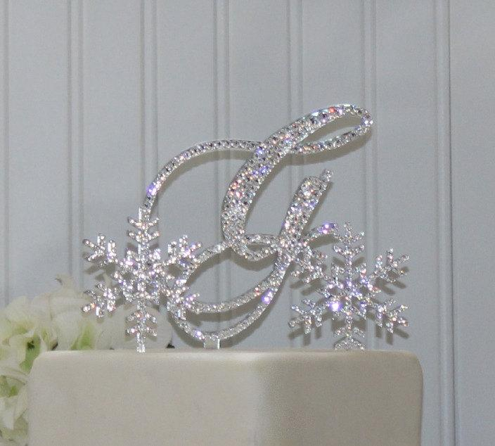 Snowflake Wedding Cake Topper With Initial Monogram & 2 Small ...
