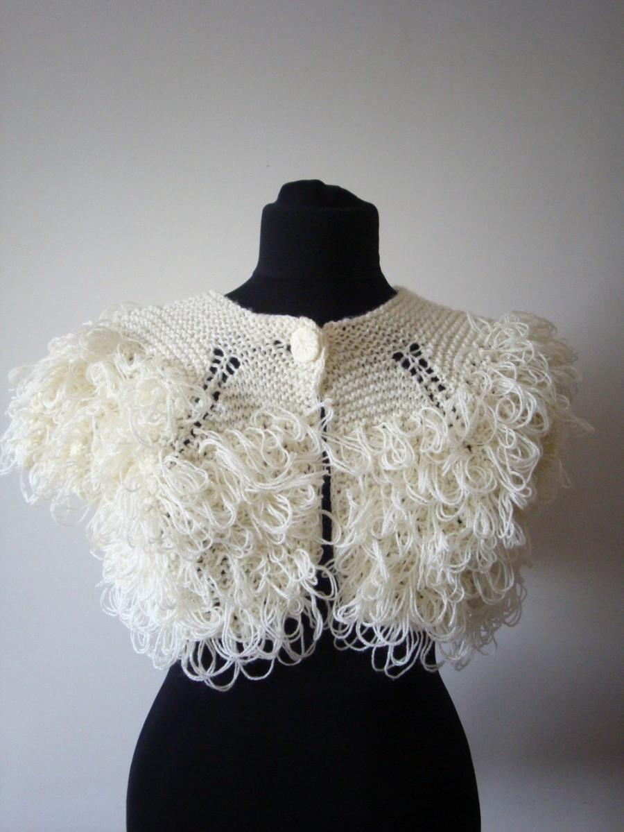 Свадьба - Ivory wedding bolero shrug / elegant vintage bridal accessory