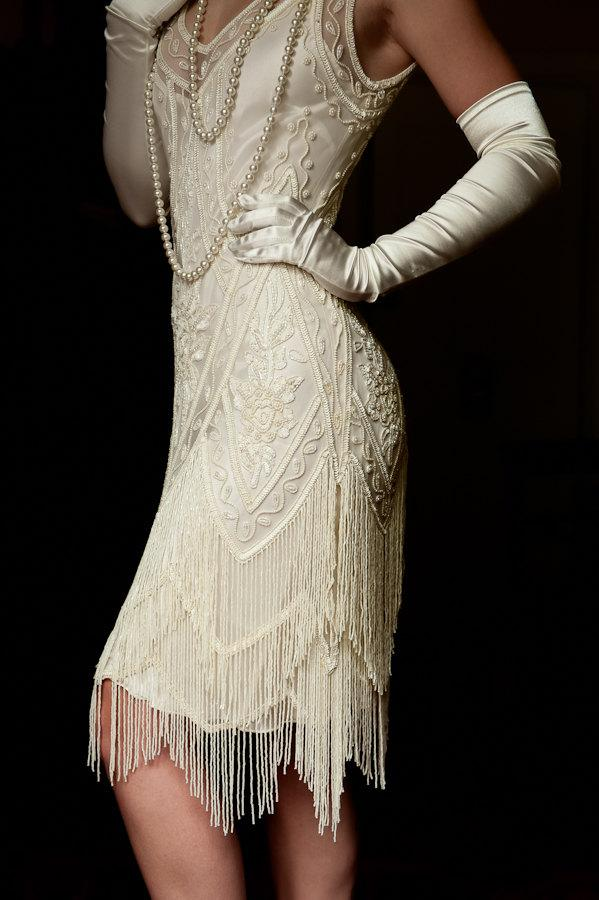 Ivory beaded vintage flapper 1920 39 s wedding dress the for The great gatsby wedding dresses