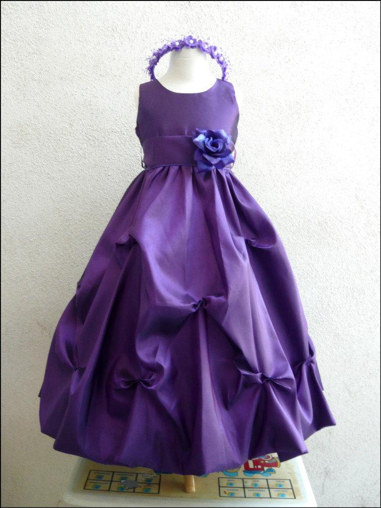 Mariage - Flower Girl Dresses - PURPLE with Purple Pick Up Dress (FD0PU1) - Wedding Easter Bridesmaid - For Children Toddler Kids Teen Girls