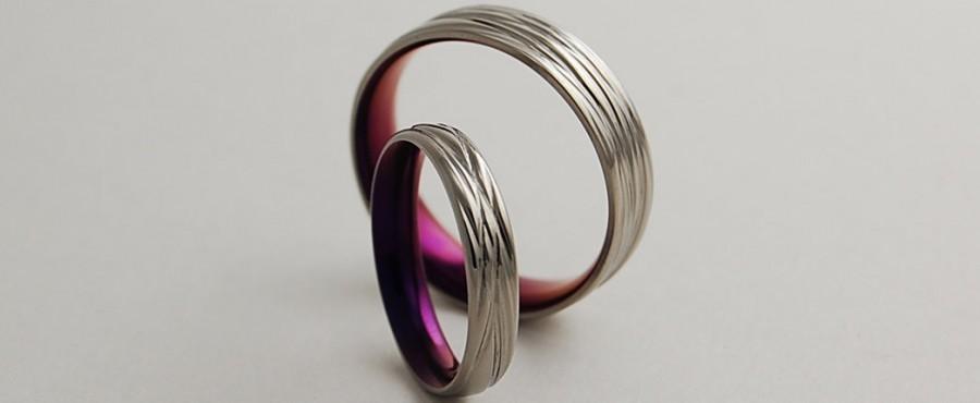 زفاف - Wedding Bands , Titanium Rings , The Sphinx Bands in Mystic Purple with Comfort Fit