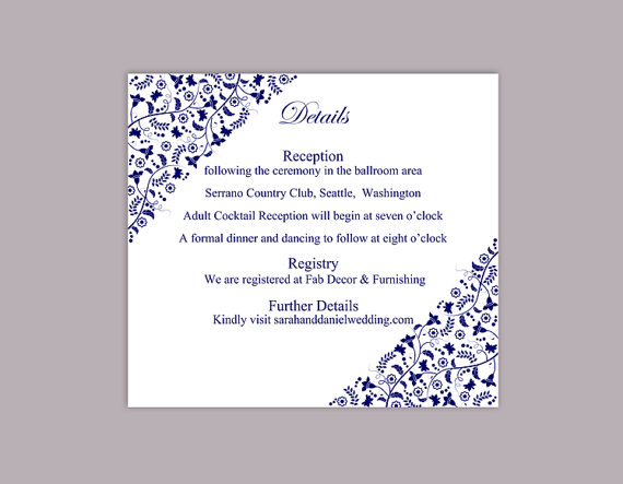 Wedding - DIY Wedding Details Card Template Editable Text Word File Download Printable Details Card Navy Blue Details Card Red Information Cards