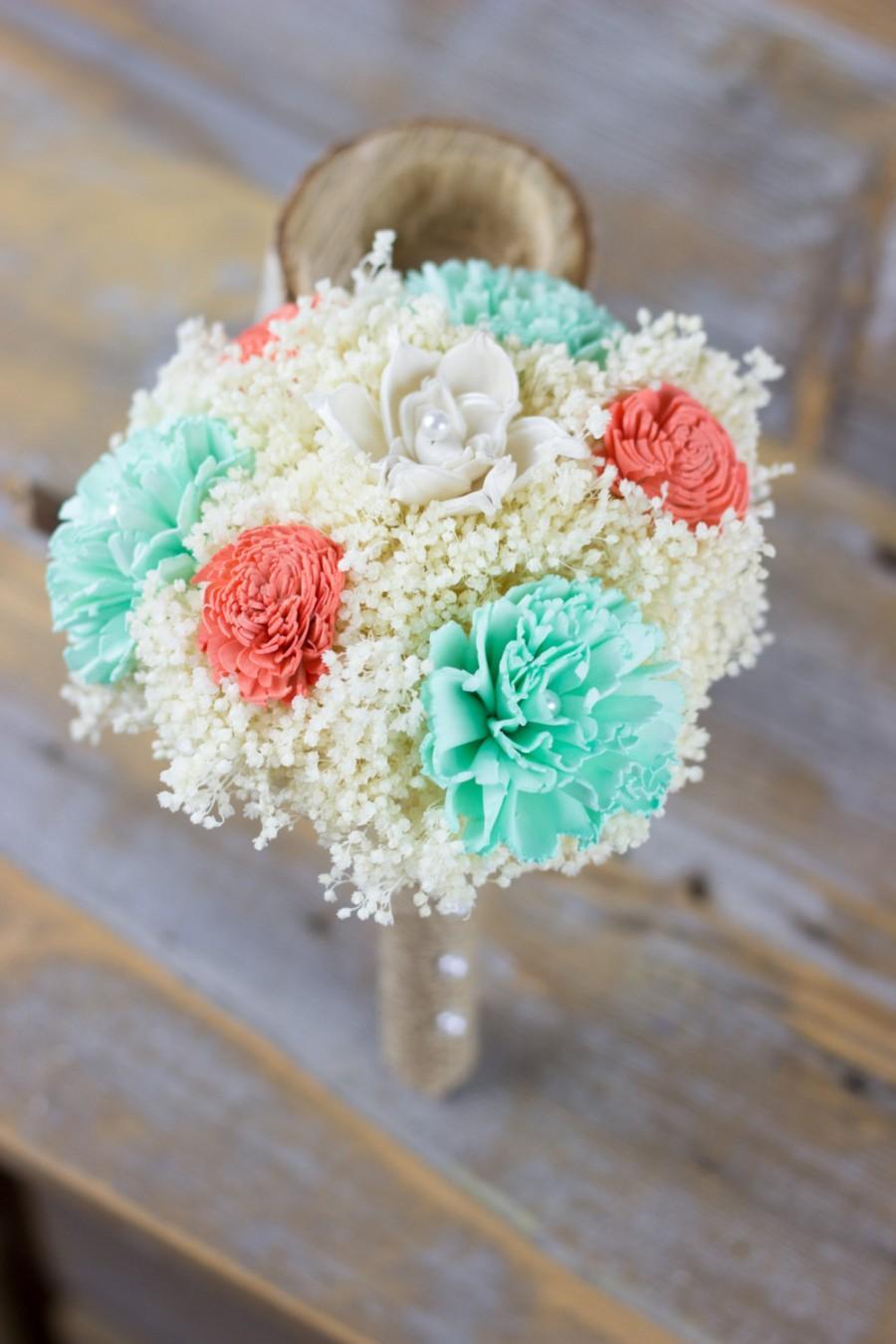 Свадьба - Bridesmaids Bouquet, Coral Ivory Mint Sola Flower Bouquet, Flower wand, Flower Girl, Keepsake Bridesmaids Bouquet.