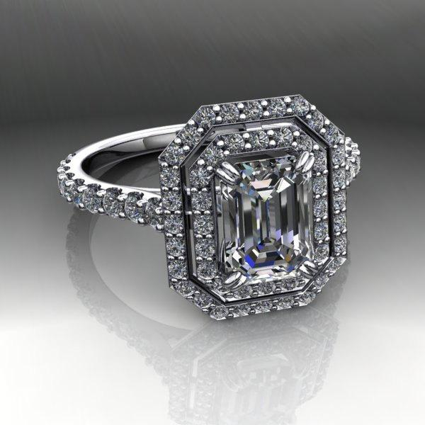 Mariage - Emerald Cut Forever Brilliant Moissanite and Diamond Engagement Ring 1.64 CTW