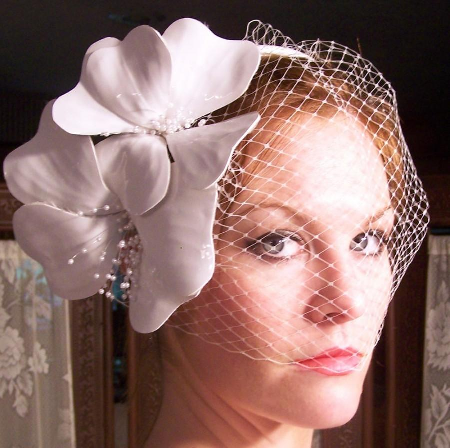 زفاف - Haute Couture-Hand Sculpted Patent Leather Beauty  Bridal Birdcage Headband- CRBoggs Original Design