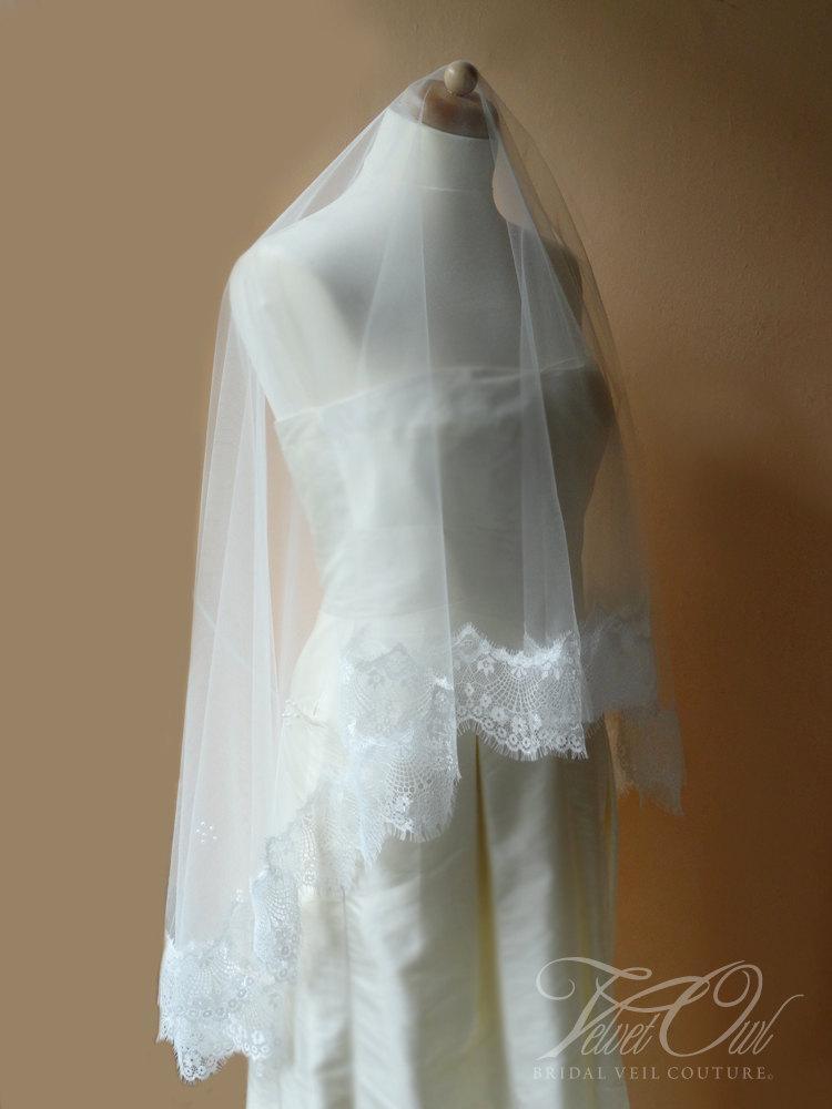 Свадьба - Bridal Mantilla drop veil soft ivory off white or champagne Fingertip length fine tulle vintage eyelash lace edge - AURORA