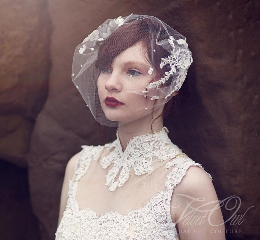 Свадьба - Bridal veil beaded antique vintage lace bandeau style fitted fine tulle pearls crystals beads couture bespoke bride - ODESSA