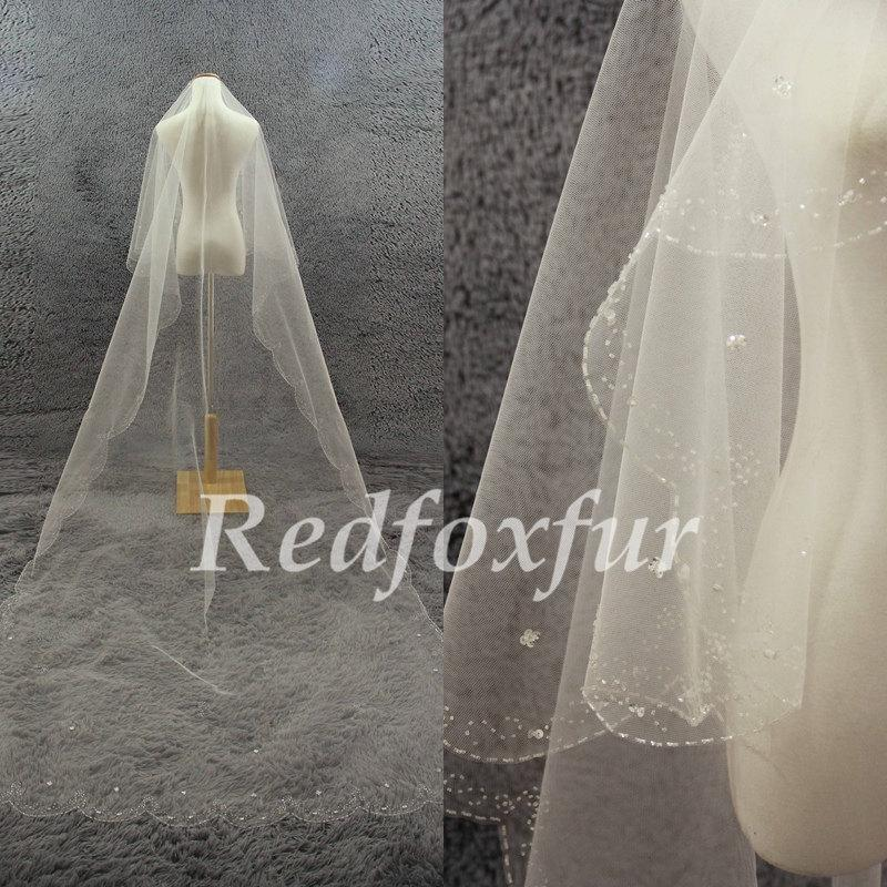 Свадьба - Bridal Veil 1T Cathedral Veil Ivory Hand-beaded Veil Crescent edge Wedding dress veil Wedding Accessories No comb