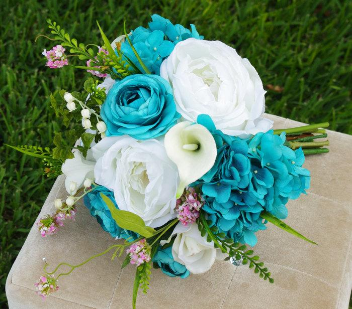 Свадьба - Wedding Teal Turquoise Natural Touch Roses Silk Flower Bride Bouquet