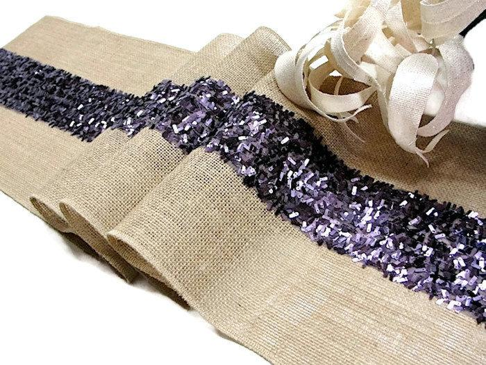 Purple Wedding Table Runner Sequin Rustic Decor Handmade Country Burlap Overlay And