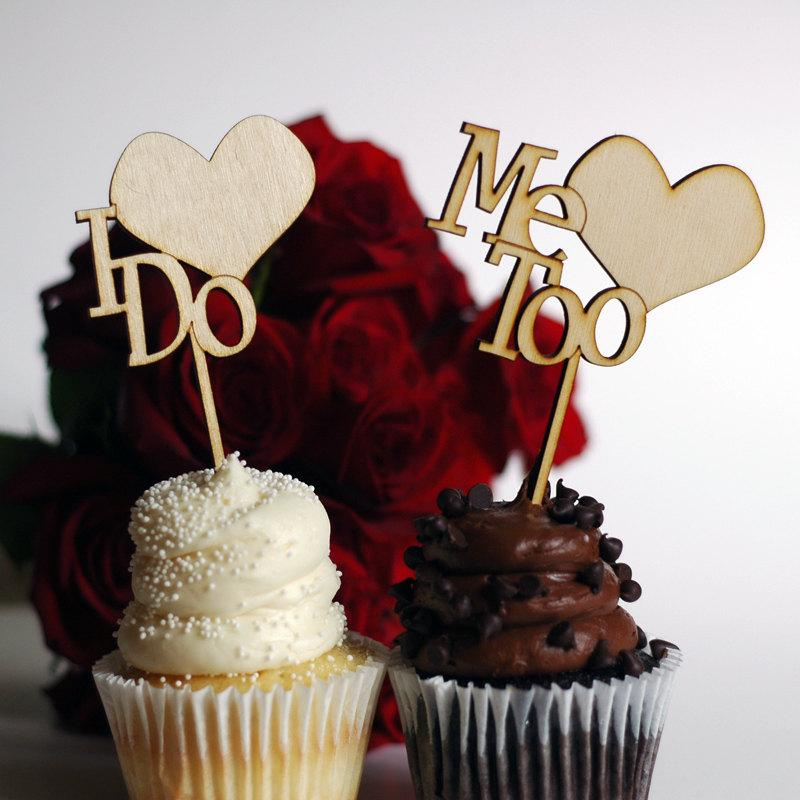 Свадьба - Wedding Cupcake Toppers - Wood  I Do Me Too personalized wedding date option available
