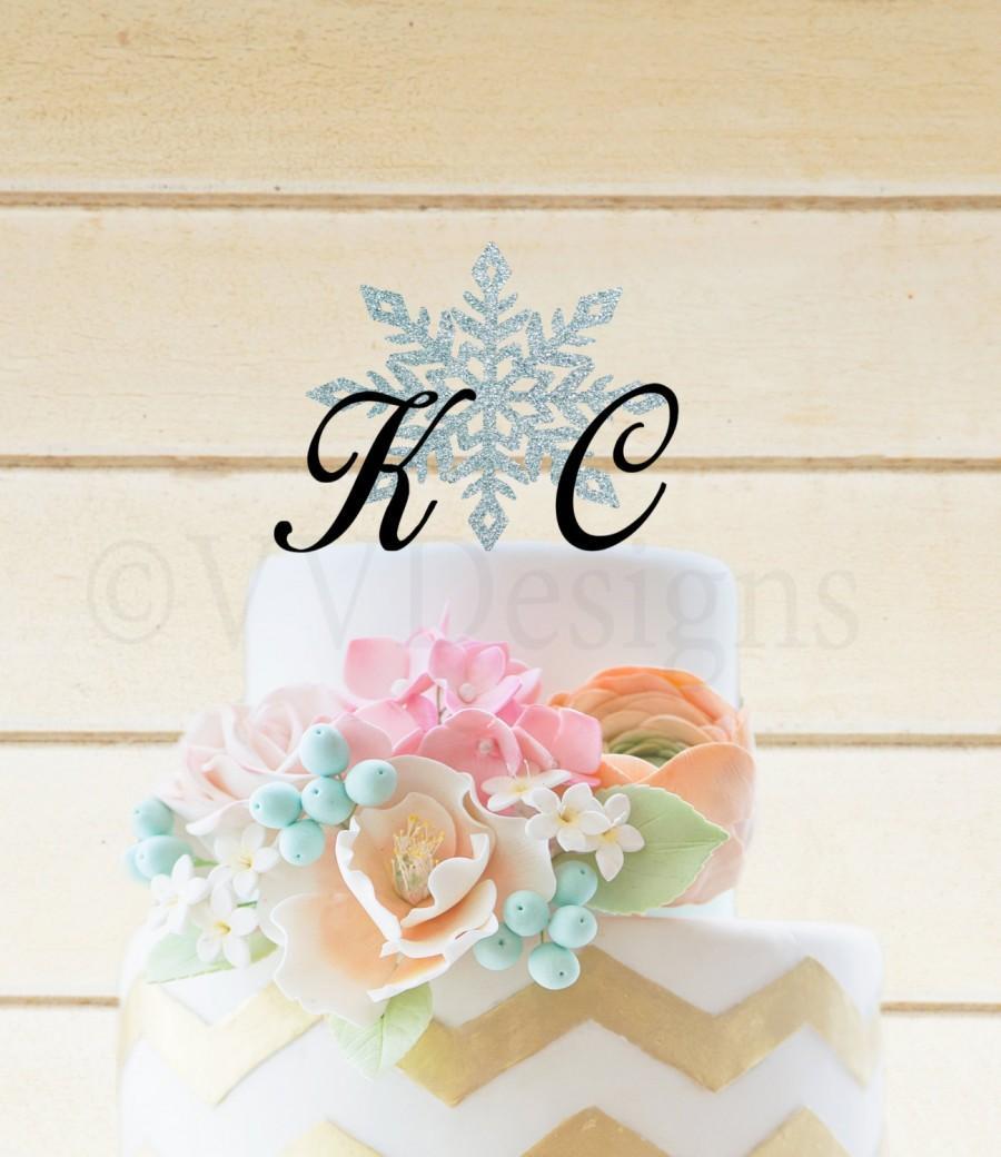 Mariage - Wedding Cake Topper Wedding Cake decor Snow Flake Winter Wedding Cake Topper