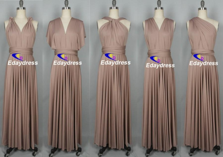 9f82afe5aa Taupe Floor Length Long Maxi Infinity Dress Convertible Formal ...