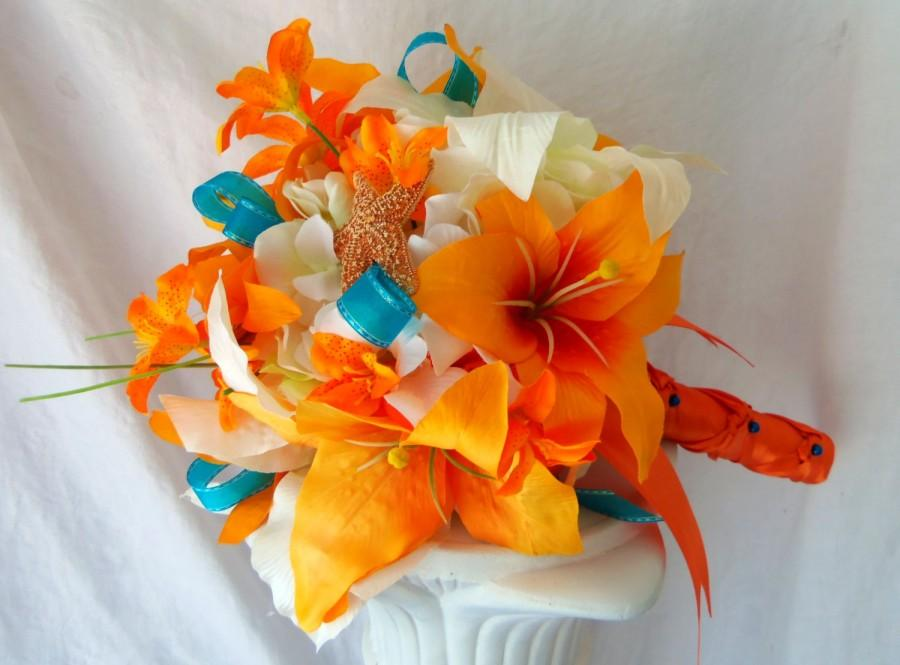 Tiger Lily Wedding Bouquet- Silk Flower Bridal Bouquet Groom\'s ...
