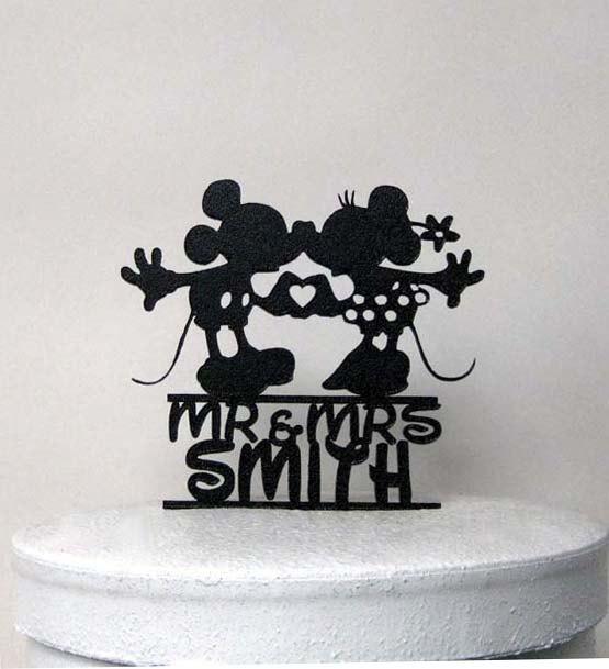 Mariage - Custom Wedding Cake Topper - Mickey and Minnie Wedding with Mr & Mrs name