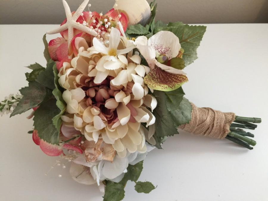 Hochzeit - Beach Wedding Bouquet, Shell Bouquet, Coral and Blush Pink Bouquet