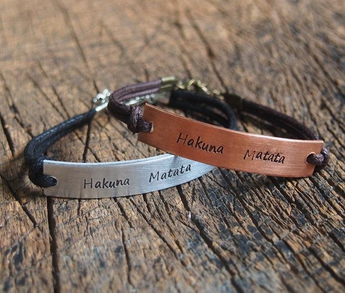 Hakuna Matata Bracelet Matching Personalized S Stamped Engraved Anniversary