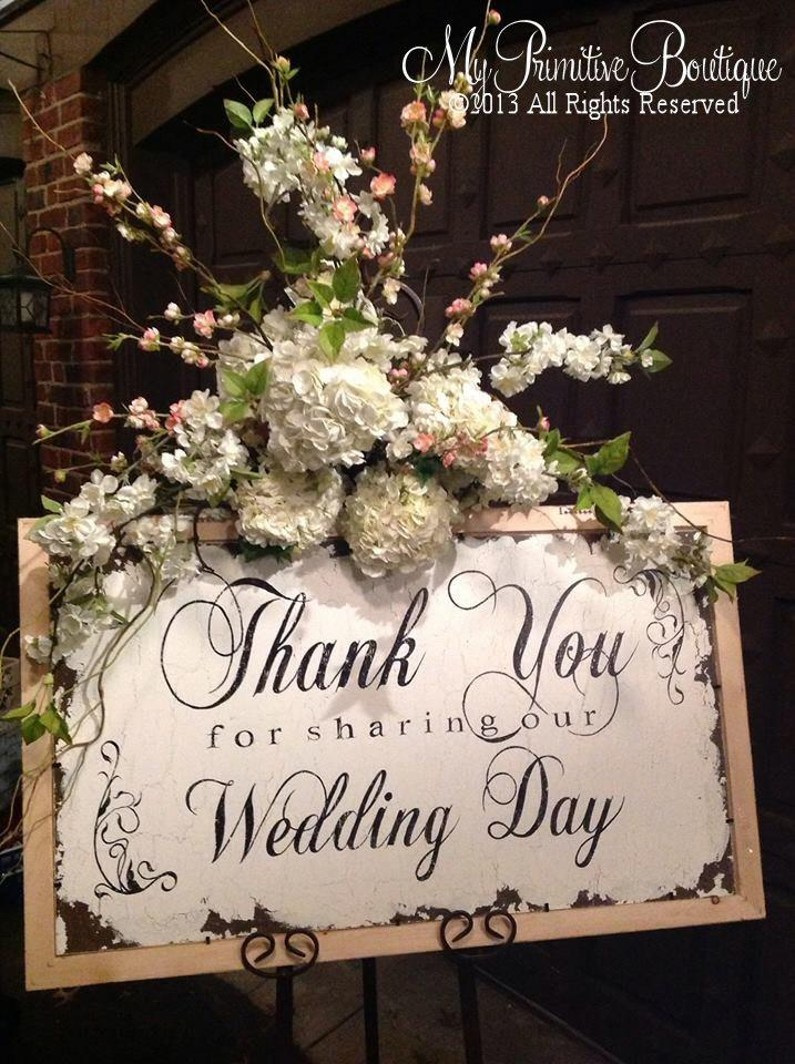 VINTAGE THANK YOU Sign Wedding Cottage Thank For Sharing Our Day