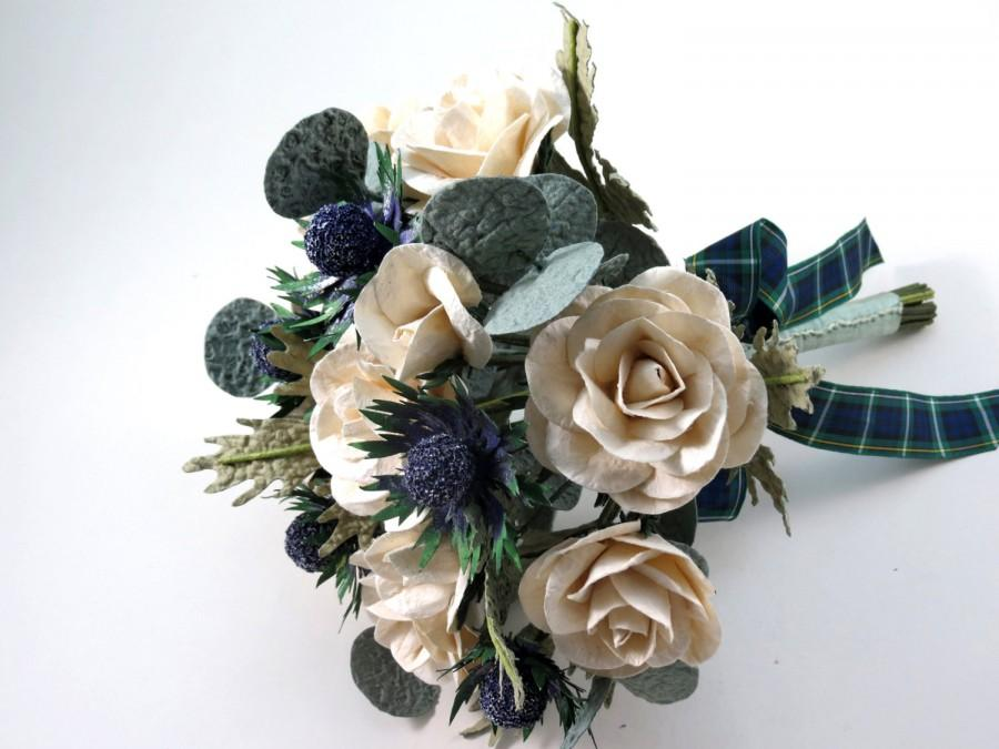 Düğün - Sea Holly and Cream Ivory Roses Bridal Tartan Paper Bouquet