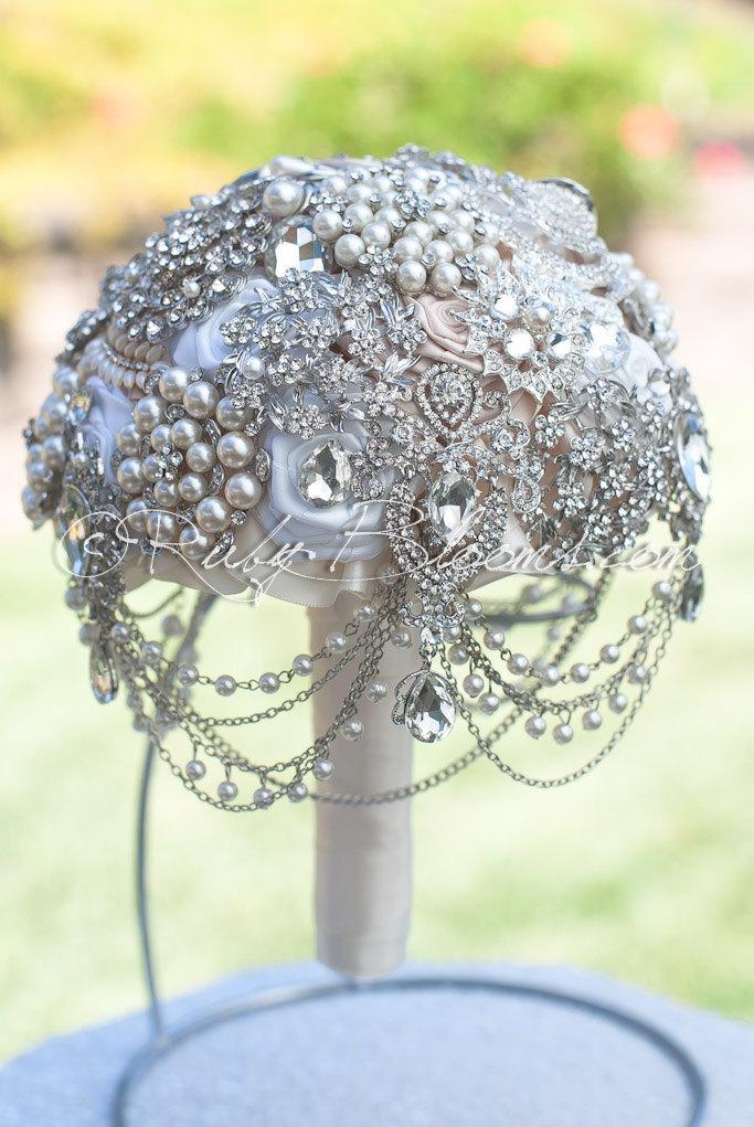 Crystal Pearl Wedding Brooch Bouquet I Found You Crystal Dangle