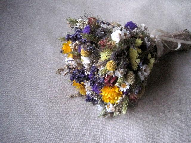 Boda - Garden wedding country bouquet shabby chic yellow and blue wedding bouquet ,rustic wedding ,dried  flowers farm wedding bouquet